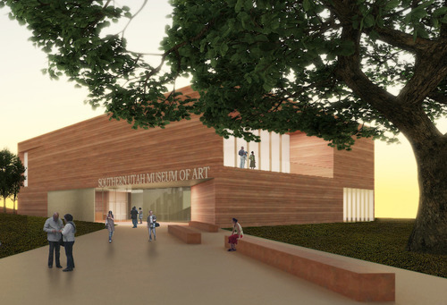 Architect's rendering of the proposed Southern Utah Museum of Art to be built in Cedar City.  Courtesy Southern Utah University.