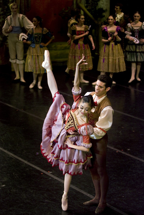 Kim Raff |The Salt Lake Tribune Sayaka Ohtaki, playing Kitri, dances with Tom Mattingly, playing Basilio during Act 1: The Port during a dress rehearsal for Ballet West's