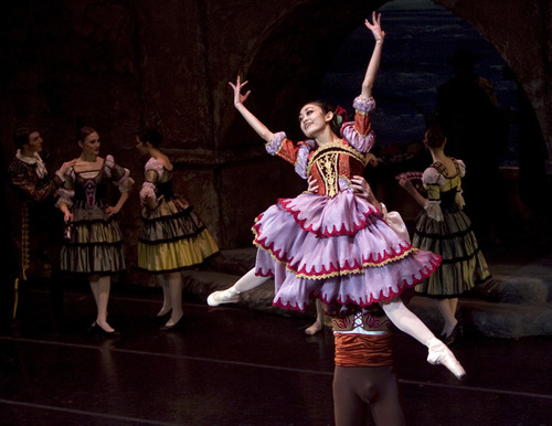 Kim Raff | The Salt Lake Tribune Sayaka Ohtaki, playing Kitri, dances with Tom Mattingly, playing Basilio during a dress rehearsal for Ballet West's