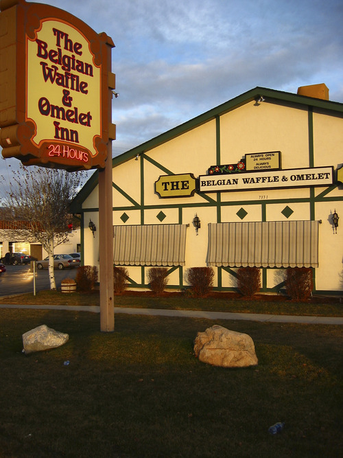 Tribune file photo The Belgian Waffle & Omelet Inn in Midvale is open 24-7.