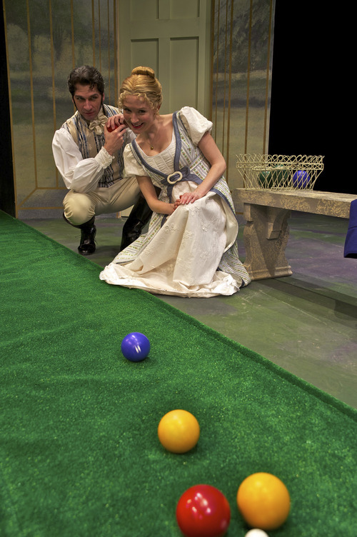 Michael Sharon plays plays George Knightley with Nisi Sturgis as Jane Austen's famous heroine in Pioneer Theatre Company's production of