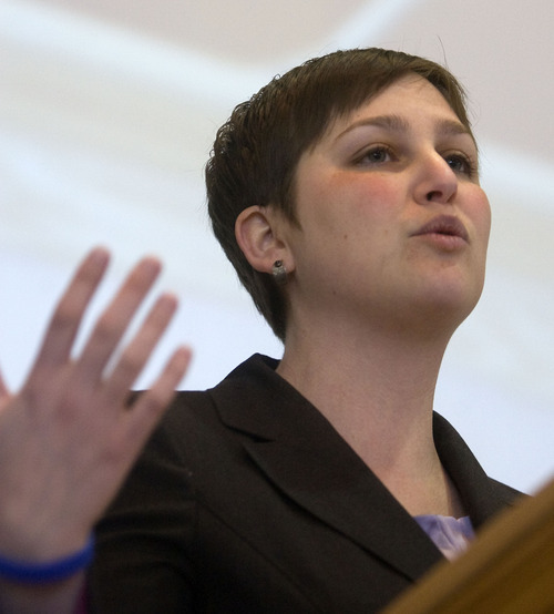 Al Hartmann  |  The Salt Lake Tribune  Congregation Kol Ami Pastor Ilana Scwartzman speaks about the responsibility of members of her church to protect themsleves from fraud  at the Fraud College event at the University of Utah Wednesday  February 15.  The event is to educate and inform the public in Utah against fraud with panels, speakers and booths.