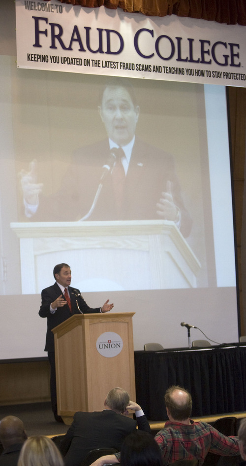 Al Hartmann  |  The Salt Lake Tribune  Utah Governor Gary Herbert speaks at the Fraud College event at the University of Utah Wednesday  February 15.  The event is to educate and inform the public in Utah against fraud with panels, speakers and booths.