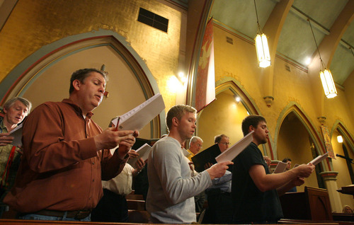 Steve Griffin  |  The Salt Lake Tribune The Salt Lake Choral Artists as rehearse the Bluegrass Mass d at the First Baptist Church sanctuary.