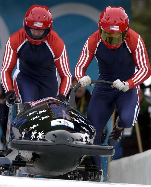 Trent Nelson | Tribune file photo American bobsledders Brian Shimer, right, and Darrin Steele -- now the head of the U.S. Bobsled & Skeleton Federation -- get started in the two-man competition at the Utah Olympic Park.