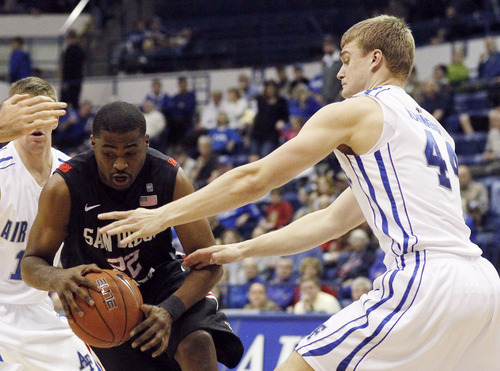 San Diego State guard Chase Tapley, left, loses control of the ball as he drives the lane past Air Force forward Chase Kammerer in the first half of an NCAA basketball game at Air Force Academy, Colo., on Saturday, Feb. 18, 2012. (AP Photo/David Zalubowski)