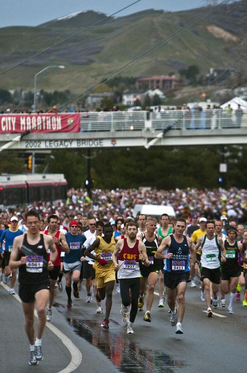 Photo by Chris Detrick | The Salt Lake Tribune  Runners compete during the 2011 Salt Lake Marathon Saturday April 16, 2011.