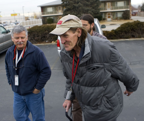 Al Hartmann  |  The Salt Lake Tribune Jeffrey Moss' parents died when he was quite young. He had used heroin for decades before Ed Snoddy, left, found him panhandling and got him help.