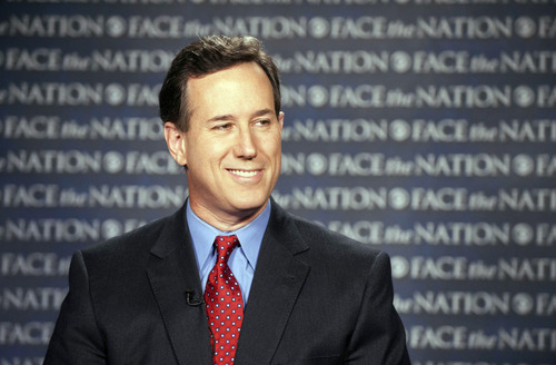 In this photo provided by CBS News, GOP presidential candidate Rick Santorum appears on CBS'