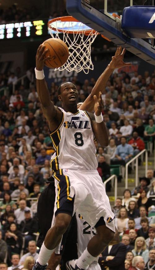 Rick Egan    The Salt Lake Tribune   Utah Jazz small forward Josh Howard (8) goes to the hoop, in NBA action in Salt Lake City, Monday, February 20, 2012.