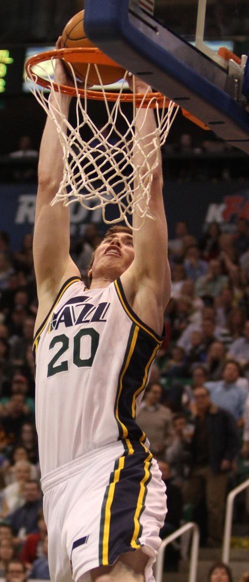 Rick Egan    The Salt Lake Tribune   Utah Jazz small forward Gordon Hayward (20) dunks the ball, in NBA action in Salt Lake City, Monday, February 20, 2012.