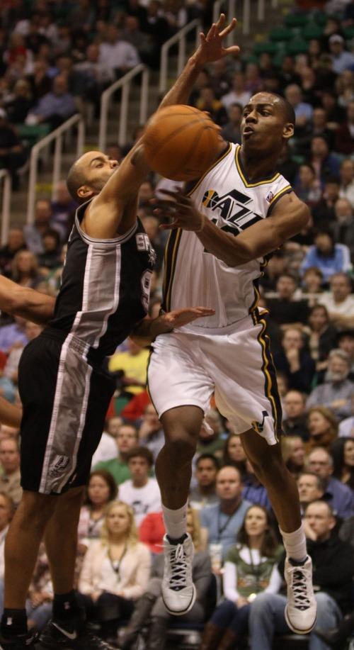 Rick Egan    The Salt Lake Tribune   Utah Jazz guard Alec Burks (10) looks to pass, as he is pressured by San Antonio Spurs point guard Tony Parker (9) in NBA action in Salt Lake City, Monday, February 20, 2012.