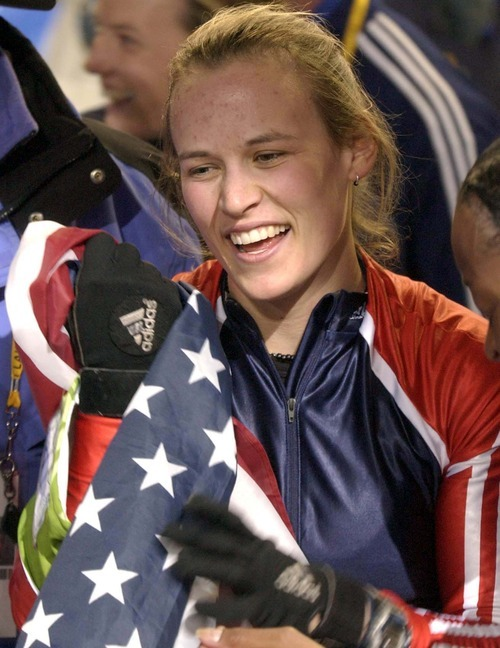 Trent Nelson   Tribune file photo Bobsled driver Jill Bakken of the United States reacts to winning the gold medal in the inaugural women's bobsled event at the Utah Olympic Park.