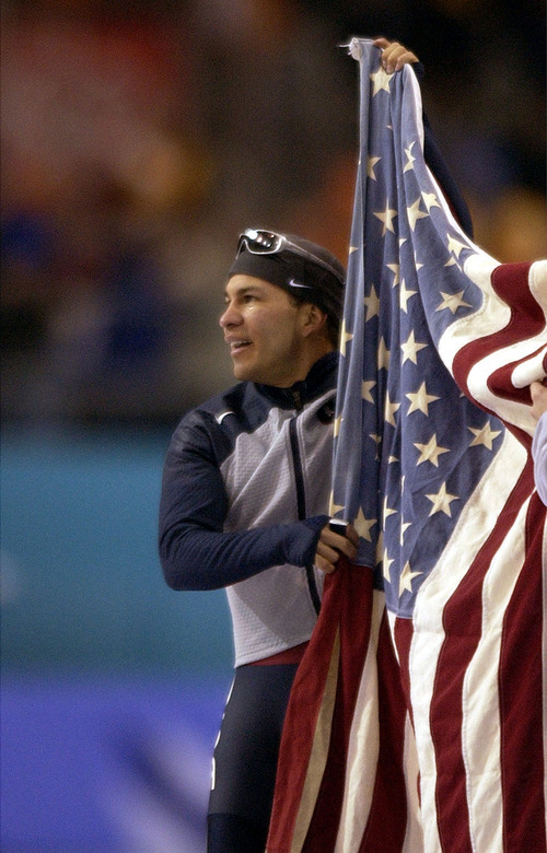 Steve Griffin   Tribune file photo Speedskater Derek Parra of the United States prepares to skate a victory lap after setting a world record and winning gold in the men's 1,500 meters at the Utah Olympic Oval.
