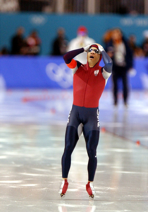 Danny La   Tribune file photo Speedskater Derek Parra of the United States reacts in jubliation after setting a world record and winning gold in the men's 1,500 meters at the Utah Olympic Oval.