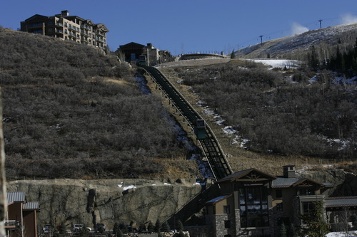Tribune file photo A funicular shuttles visitors to St. Regis Hotel, a luxury lodge drawn to Deer Valley since Utah hosted the 2002 Olympics.