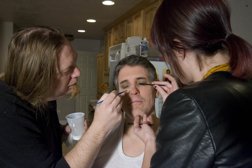 Paul Fraughton  |  The Salt Lake Tribune. Chris Richard Hanson and Danielle Donahue apply that makeup that turns Nate Jones into the