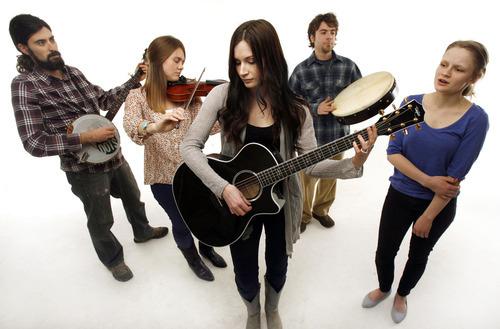 Francisco Kjolseth  |  The Salt Lake Tribune Utah acoustic band The Folka Dots includes Brian Manecke, Anna Corinne Gentry, Marie Bradshaw, Bronk Onion and Kiki Sieger, from left.