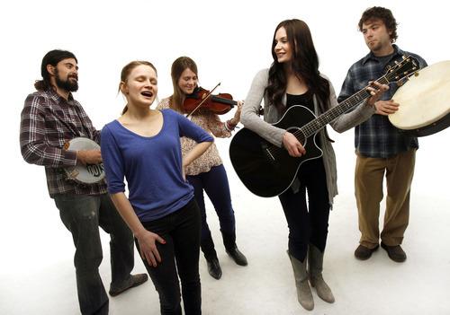 Francisco Kjolseth  |  The Salt Lake Tribune Utah acoustic band The Folka Dots includes Brian Manecke, Kiki Sieger, Anna Corinne Gentry, Marie Bradshaw and Bronk Onion, from left.