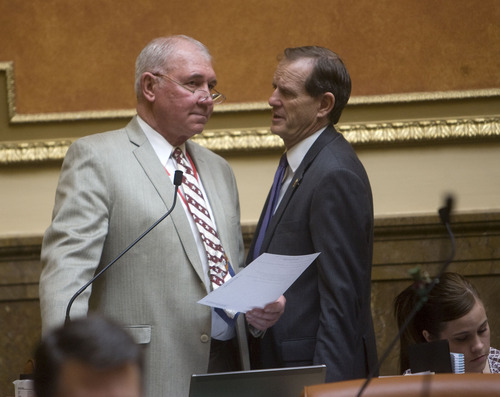 Al Hartmann  |  The Salt Lake Tribune  Rep. Bill Wright, R-Holden, left, sponsored HB363, which allows schools to drop sex education classes and prohibts instruction in the use of contraceptives. He confers on the House floor Wednesday with Majority Leader Brad Dee, R-Ogden. The bill based on a 45-28 vote.