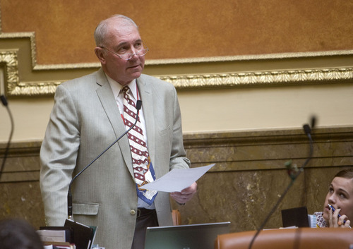 Al Hartmann  |  The Salt Lake Tribune  Rep. Bill Wright, R-Holden, argues for his HB363 to permit schools to drop sex education altogether. It also would ban instruction in the use of contraception. Forty-five Republicans voted for the bill while 11 GOP members joined all 17 Democrats in opposing it.