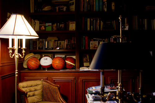 Chet Strange  |  Special to the Tribune  Gordon Hayward's NBA draft ball, as well as varous championship game balls, adorn his father's home office in Brownsburg, Ind.
