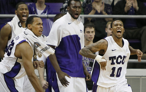 TCU guard Hank Thorns (10) reacts after making a three point shot against New Mexico during the second half of an NCAA college basketball game, Saturday, Feb. 25, 2012, in Fort Worth, Texas. TCU won 83-64. (AP Photo/Brandon Wade)