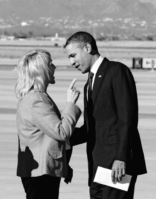 Haraz N. Ghanbari  |  Associated Press file photo Arizona Gov. Jan Brewer points during an intense conversation last month with President Barack Obama after he arrived at Phoenix-Mesa Gateway Airport.