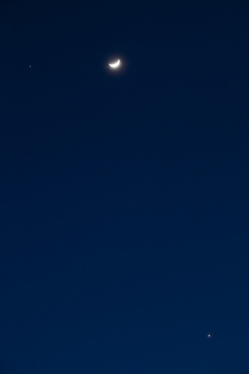 Lennie Mahler  |  The Salt Lake Tribune Jupiter, left, the moon and Venus, bottom-right, shine in the night sky above Salt Lake City on Sunday, Feb. 26, 2012.