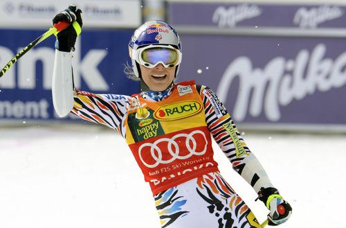 Lindsey Vonn, of the United States, celebrates after winning an alpine ski, Women's World Cup super-G, in Bansko, Bulgaria, Saturday, Feb. 26, 2012. (AP Photo/Giovanni Auletta)