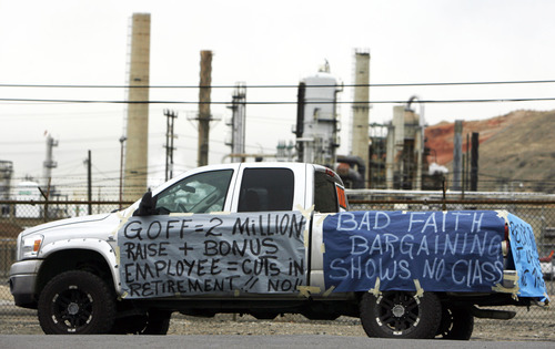 Francisco Kjolseth  |  The Salt Lake Tribune Multiple wrapped vehicles express worker sentiment on Monday, February 27, 2012, at Tesoro Corp.'s Salt Lake City refinery who have rejected the company's contract offer.