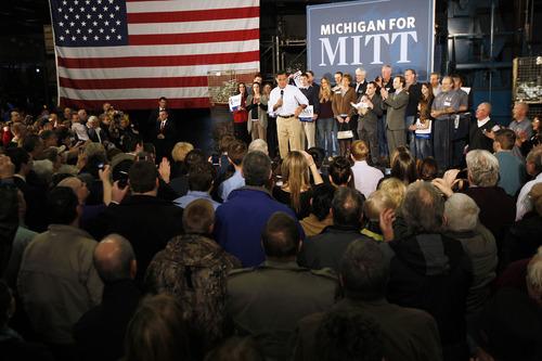 Republican presidential candidate, former Massachusetts Gov. Mitt Romney speaks in Albion, Mich., Monday, Feb. 27, 2012. (AP Photo/Gerald Herbert)