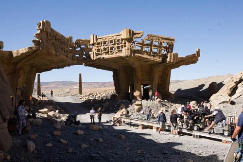 A camera crew films a scene in Big Water, Utah, for the film