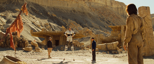 Tar Tarkas (Willem Dafoe), left, and John Carter (Taylor Kitsch) on set for