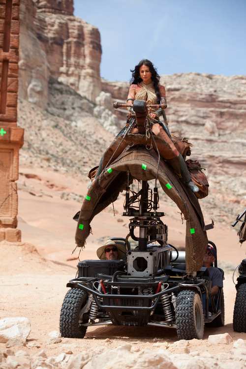 Lynn Collins on set in Utah during filming of
