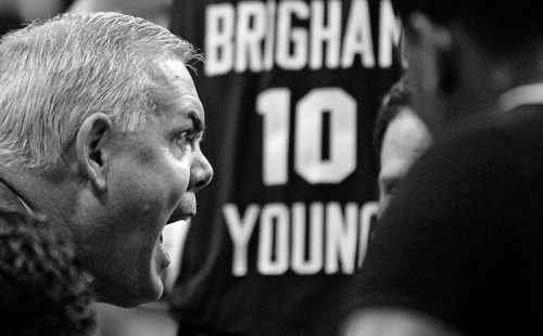 BYU's head coach Dave Rose yells at his team during a timeout during the first half of an NCAA college basketball game against Gonzaga at the West Coast Conference tournament on Saturday, March 3, 2012, in Las Vegas. (AP Photo/Isaac Brekken)