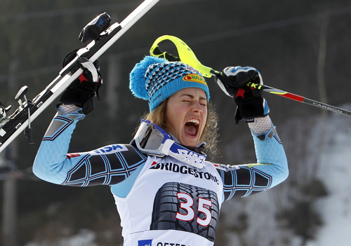 Timm Schamberger | The Associated Press Resi Stiegler, of the United States, celebrates her second place after completing an alpine ski, women's World Cup slalom, in Ofterschwang, Germany, Sunday, March 4, 2012. (AP Photo/dapd/ Timm Schamberger)