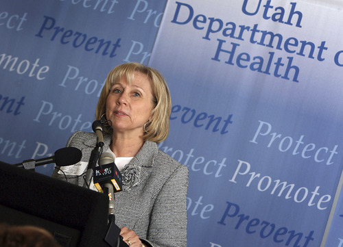 Rep. Karen Morgan speaks at a press conference at the Utah Department Of Health to announce a $1 million gift from donor Jon Huntsman for education on and prevention of cervical cancer. The money will help detect and prevent the disease using the Gardasil vaccine. Ryan Galbraith The Salt Lake Tribune 4.04.07