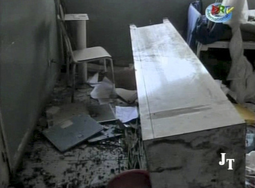 This video image made from DRTV shows damage to an examination room in a hospital after blasts rocked Brazzaville, the capital of the Republic of Congo Sunday March 4, 2012 after a weapons depot caught fire.  Officials in the Congo said an unknown numbers of people were killed and wounded and some 2,000 people were forced to flee their homes. The explosions shook houses in Brazzaville and echoed across the Congo River to the capital of the neighboring country.   (AP Photo/DRTV)  REPUBLIC OF CONGO OUT