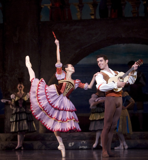 Kim Raff |The Salt Lake Tribune Sayaka Ohtaki, playing Kitri, dances with Tom Mattingly, playing Basilio, during a dress rehearsal for Ballet West's