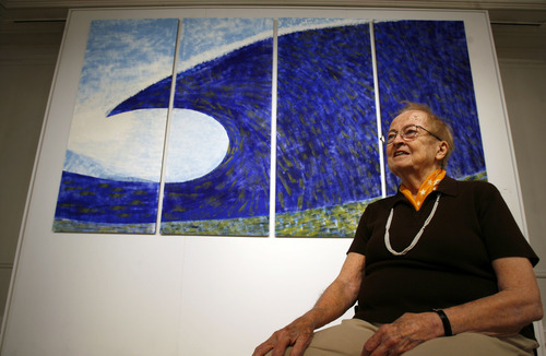 Francisco Kjolseth | The Salt Lake Tribune Utah artist Anna Bliss, pictured in front of one of her paintings, is the subject of a new documentary,