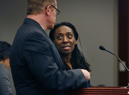Scott Sommerdorf  |  Tribune file photo           Nicola Irene Riley and her attorney Edwin Wall appear at a hearing in January 2012 in Judge Ann Boyden's court. Maryland prosecutors have dropped murder counts filed against Riley, who had been charged in connection with a flawed 2010 abortion.