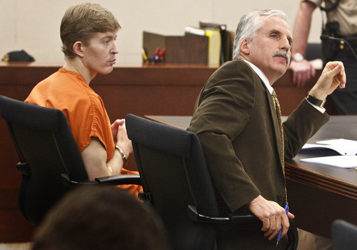 Leah Hogsten  |  The Salt Lake Tribune file photo Matthew David Stewart's defense attorney Randy Richards, right, said he would not withdraw from the case during a hearing in Utah's 2nd District Court in Ogden before Judge Noel Hyde in February. Stewart has been charged with aggravated murder for the death of Ogden police Officer Jared Francom, who was a member of the Weber-Morgan Narcotics Strike Force. He also has been charged with eight other felony counts. Weber County Attorney Dee Smith has filed notice that he intends to seek the death penalty.