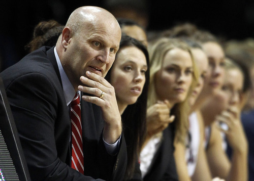 Gonzaga coach Kelly Graves watches from the bench in the second half against BYU during the NCAA West Coast Conference tournament championship basketball game, Monday, March 5, 2012, in Las Vegas. BYU won 78-66. (AP Photo/Julie Jacobson)