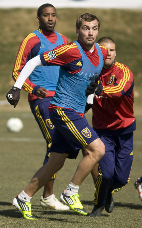 Leah Hogsten  |  The Salt Lake Tribune Jonny Steele is one of the new players for Real Salt Lake, above practicing with the team March 8, 2012. Steele has played in an astonishing number of leagues all over the world in order to get another shot at to join the team.