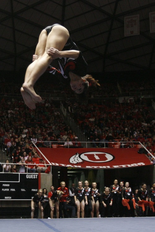 Chris Detrick  |  The Salt Lake Tribune Nansy Damianova competes on the floor during the gymnastics meet against Utah State at the Huntsman Center Friday January 13, 2012.