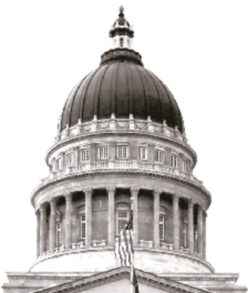 Straight on view of the Utah State Capitol building