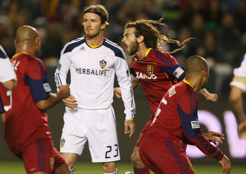 Kim Raff |  The Salt Lake Tribune Real Salt Lake celebrates a goal against  LA Galaxy during the Western Conference Championship at The Home Depot Center in Carson, CA on Sunday, November 6, 2011.
