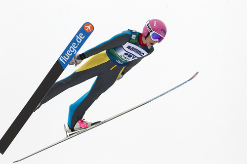 Sarah Hendrickson of the U.S. in action to take first place in the women's Ski Jumping World Cup event in Holmenkollen, Norway Friday March 9, 2012.   (AP Photo/Scanpix Norway/Terje Bendiksby)