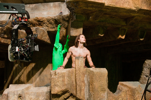 Taylor Kitsch on set for